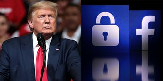 A side by side of former President Donald Trump next to the Facebook logo and a lock.