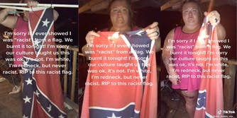 """Three panel of woman's tiktok video where she is shown cutting off her Confederate flag from its pole and burning it with the caption """"I'm sorry if I ever showed I was racist from a flag. We burnt it tonight. I'm sorry our culture taught us it was ok. It's not. I'm white. I'm redneck, but never racist. RIP to this racist flag."""""""