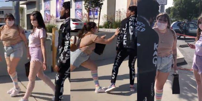 Women pull knife on man harassing them