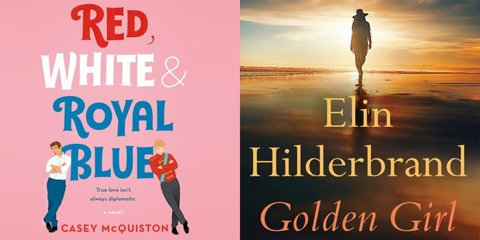 """Red White & Royal Blue book cover, with two people leaning against the word """"blue"""" (l) Golden Girl book cover of woman walking into sunset (r)"""