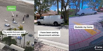 """people on beach with """"Alien"""" caption and """"The worlds first ever seen alien went viral"""" (l) van parked in street with caption """"I have been seeing Government vehicles"""" (c) same van on street with caption """"outside my home"""" (r)"""