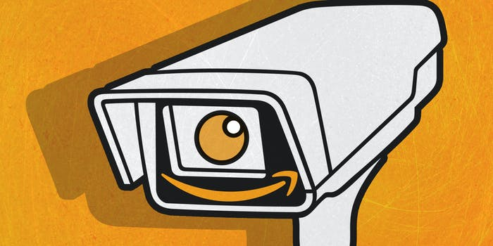 surveillance camera with amazon smile logo