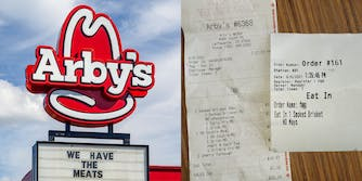 """Arby's sign """"We have the meats"""" (l) Arby's receipt with homosexual slur"""