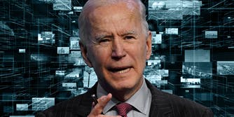 joe biden over background of images at different sizes and distances