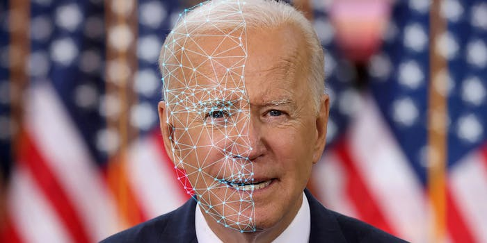 Joe Biden with facial recognition overlay