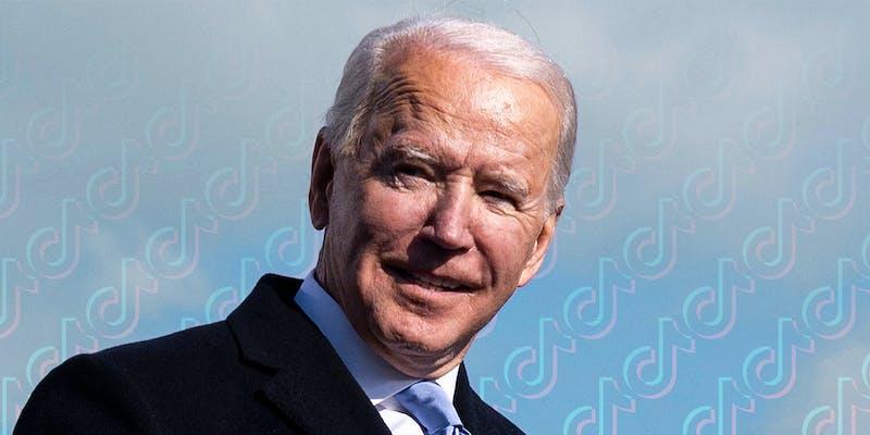 Joe Biden TikTok logo pattern in background