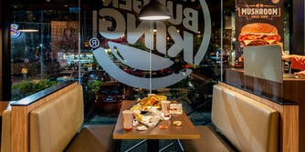 Dirty table at Burger King restaurant