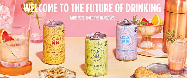 CANN THC and CBD drinks in lemon lavender, orange cardamom, and grapefruit rosemary on a pink background