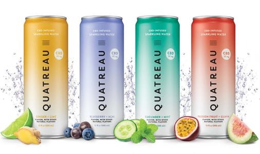 Quatreau CBD sparkling seltzer water in four different fruity flavors on a white background