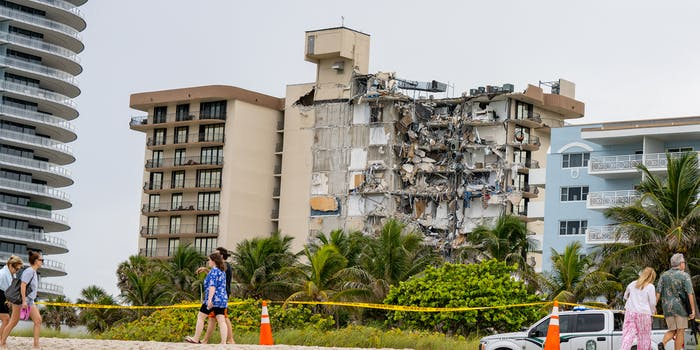 Chaplain Towers collapse from beach