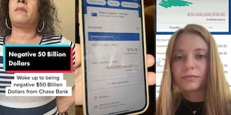 TikTok users discussing a glitch with Chase bank