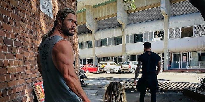 Chris Hemsworth looking at the camera.