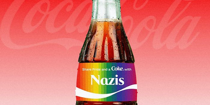 A Coca-Cola bottle with 'Nazis' written on the side.