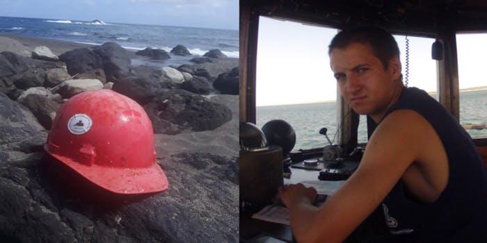 hard hat belonging to Conrad Roy Jr. (l) Conrad Roy III (r)