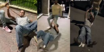 man dragged by another man by leash