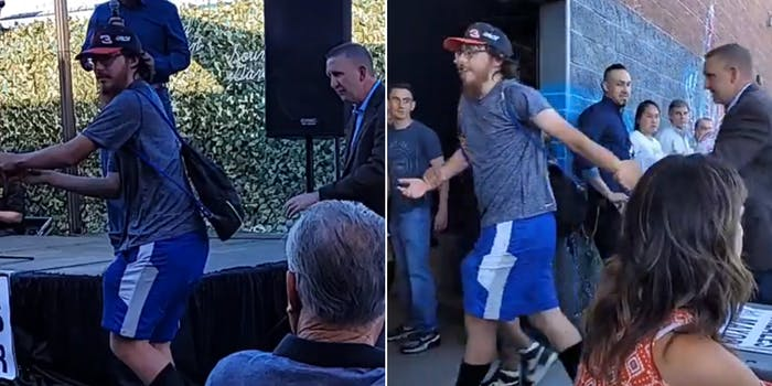 man struggling over dildo taken from drone (l) man being walked out of event (r)