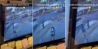 """woman delivering food (l) woman taking photo of food (c) woman walking away with food (r) with caption """"I ordered door dash this is what happened"""""""