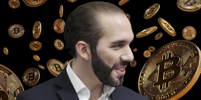 El Salvador president Nayib Bukele over Bitcoin background