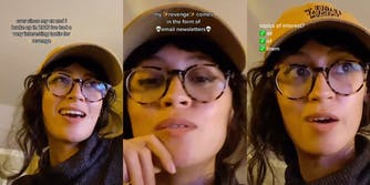 """woman in hat and glasses with caption """"ever since my ex and I broke up in 2016 i've had a very interesting tactic for revenge"""" (l) """"my revenge comes in the form of email newsletters"""" (c) """"topics of interest? all of them"""" (r)"""