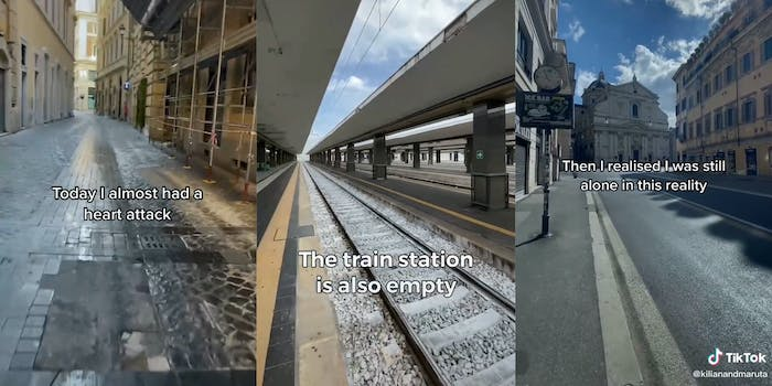 """empty street with """"Today I almost had a heart attack"""" caption (l) empty train station with """"The train station is also empty"""" caption (c) empty street with """"Then I realised I was still alone in this reality"""" caption (r)"""