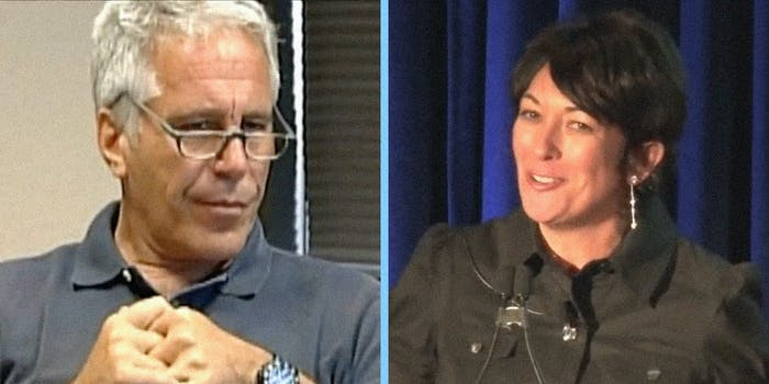 Jeffrey Epstein looking off camera (L) and Ghislaine Maxwell looking off camera (R).