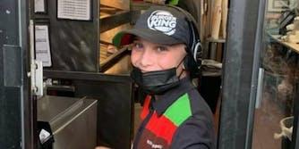 14-year-old burger king worker at drive-thru window