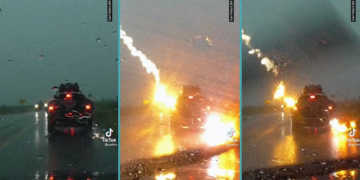 A car being struck by lightening.