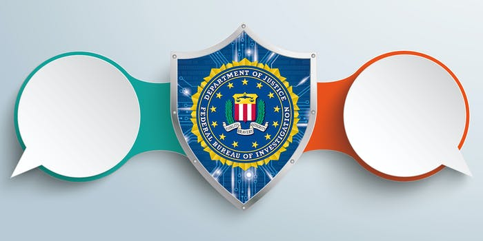 speech bubbles connected by shield with FBI logo