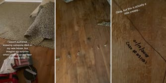 """Hardwood floors and carpet liner with caption """"I wasn't bothered knowing someone died in my new house, but imagine my surprise when I ripped up the floor and found this."""" (l) a marker outline of a body on a wood floor (c) """"01/19/2018 Case#091101"""" written on floor with caption """"Okay, but this is actually a little creepy..."""""""