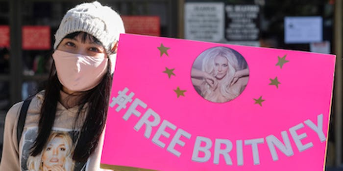 free britney supporter with sign