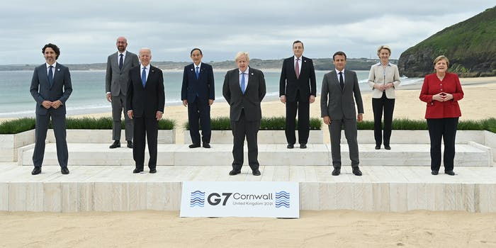EU Council President of the European Council Charles Michel, Japanese Prime Minister Yoshihide Suga, Italian Prime Minister Mario Draghi, EU Commission President Ursula von der Leyen, Canadian Prime Minister Justin Trudeau, United States of America President Joe Biden, United Kingdom Prime Minister Boris Johnson, French President Emmanuel Macron and German Chancellor Angela Merkel pose for the official family picture during the G7 summit.