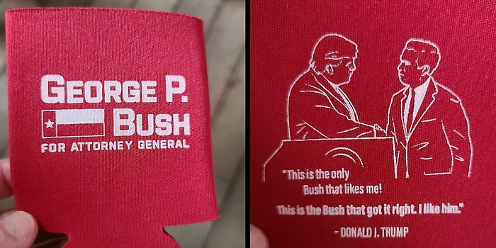 A red koozie advertising George P. Bush for Attorney General.