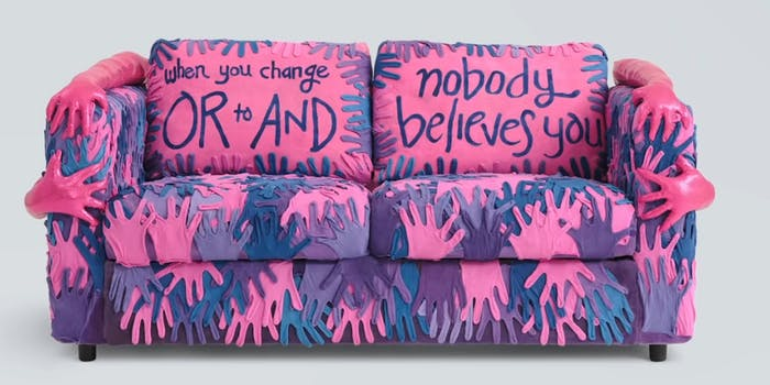 """couch made of pink, blue, and purple hands with pillows that read """"when you change OR to AND"""" and """"nobody believes you"""""""