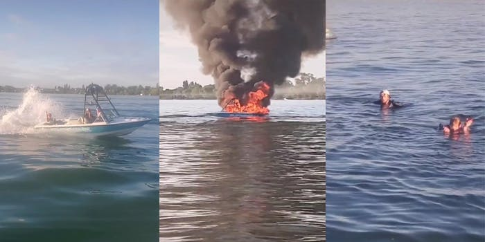 boaters giving the finger (l) boat on fire (c) boaters in water (r)