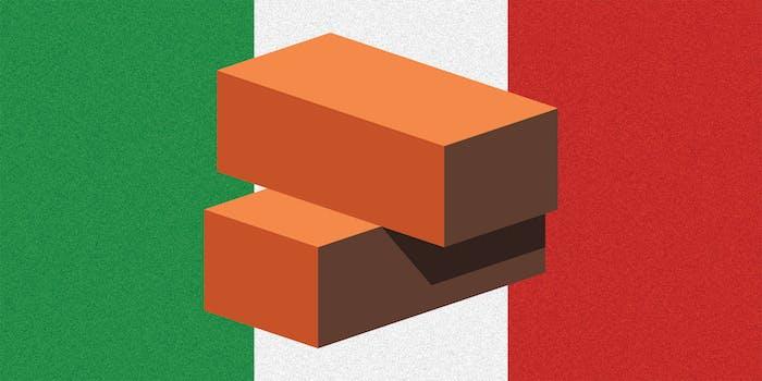 The Italian flag colors with cartoon bricks.