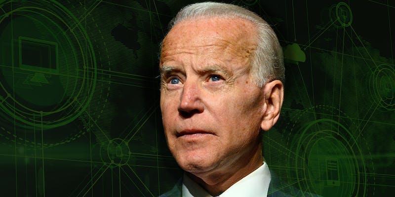 Joe Biden with computer connection background