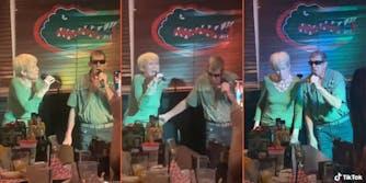 couple in bar singing karaoke
