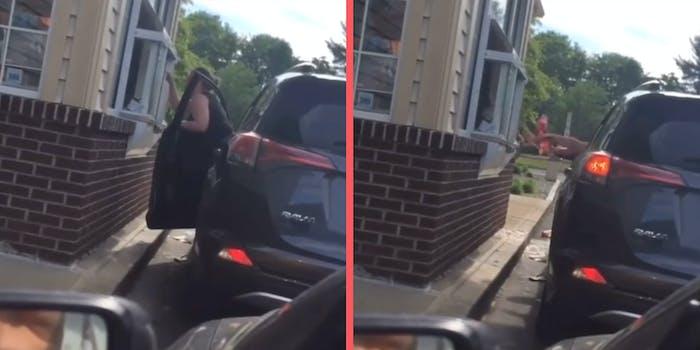 A woman yelling at a drive-thru window.