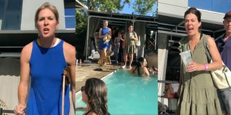 crowd yells 'shame' at women walking by pool