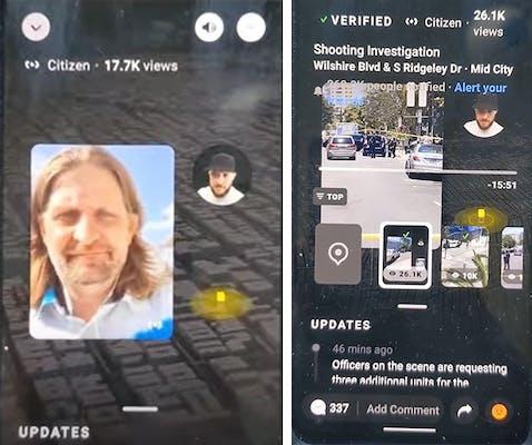 Man being interviewed on Citizen app