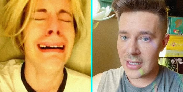 A young man crying (L) and a man talking into camera (R).