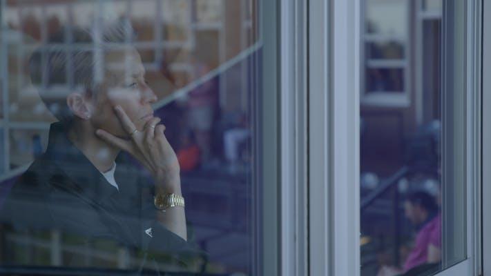 woman behind a window