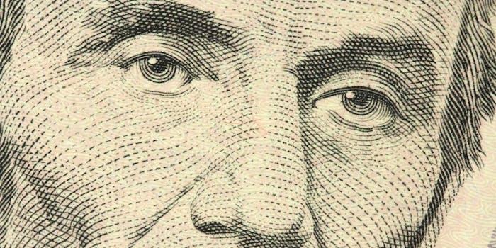 Abraham Lincoln's portrait closeup
