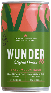 WUNDER Higher Vibes cannabis drink in watermelon basil flavor with 10mg of thc and 10mg of delta-8 thc
