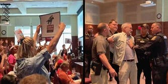 A group of people holding signs (L) and a man being arrested during a meeting about critical race theory (R).