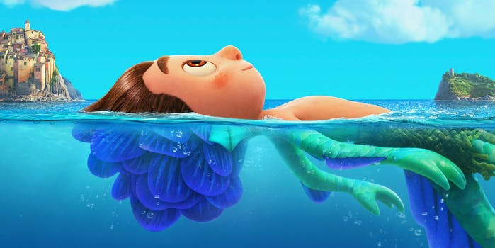 luca laying in the water (human top half, sea monster bottom half)