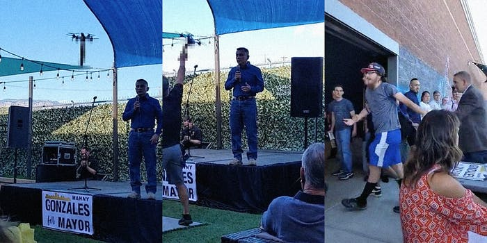 A man on stage (L), a man grabbing a drone (C), and a man being taken away (R).