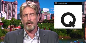 John McAfee next to the letter Q