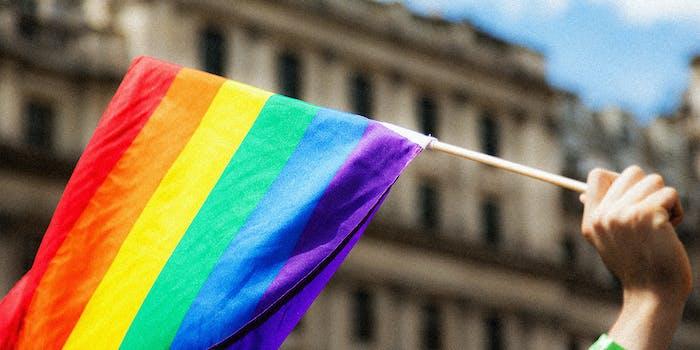A pride flag in the air.