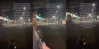 TikTok user @MissyMythic recorded her interaction with a man who she said had been following her. She threatened him with a knife.